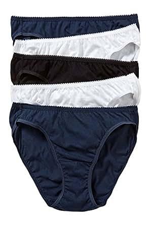 Hanes Women's Underwear Cotton Bikini Brief (5 Pack), Multicoloured (Pack A), 10-12