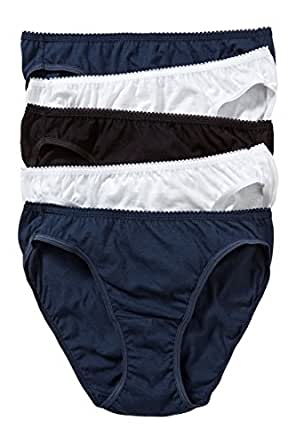 Hanes Women's Underwear Cotton Bikini Brief (5 Pack), Multicoloured (Pack A), 10-12