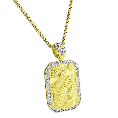 Nugget Style Dog Tag Pendant 14k Yellow Gold Finish Free 24
