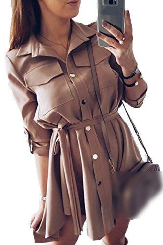Beige Cinturón Boton Casual Mujer Vestido Blusa Breasted Solo Abajo Con Trabajo La CqgPpcwSw