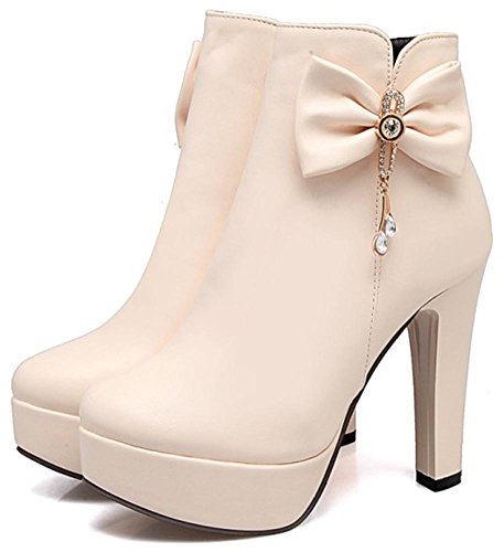 Easemax Women's Sexy Round Toe High Block Heeled Zip Up Platform Ankle High Boots With Bows Beige WzbqMuqYR