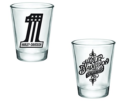 Gift Pack - Harley Davidson Number 1 and Swirl Shot Glasses - Set of 2 (2oz) - Great Gift Idea