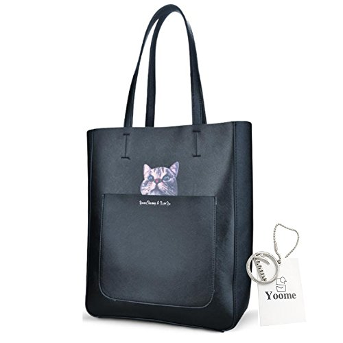 Sacchetti eleganti di Tote del manicotto della parte superiore della testa del gatto di grande capienza di Yoome grandi per le donne frizione delle borse per le ragazze - il nero