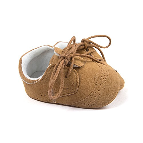 Baby Lace Up Brogue Shoes Anti Slip Soft Sole Medallion Wingtip Nubuck Crib Dress Shoe Moccasins Size M - Image 3