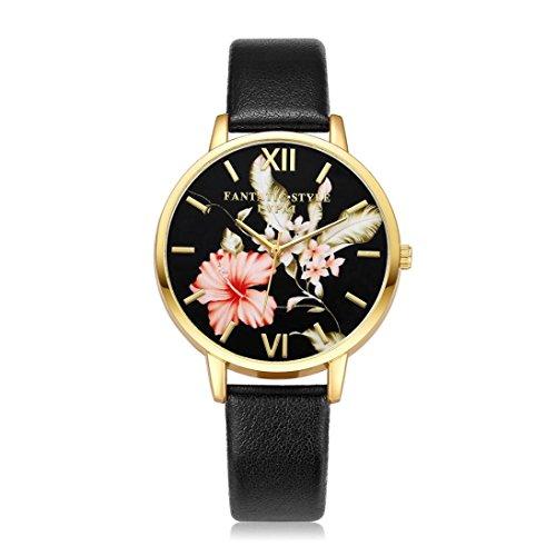 Pocciol Wristwatch,Womens Around Artificial Leather Band Life Flower Pattern Dial Quartz Analog Wrist Watch