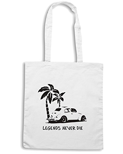 T-Shirtshock - Bolsa para la compra TGAM0044 Legends Never Die - Retro BUG T-Shirt Blanco