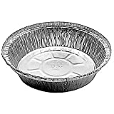 """Durable Packaging International 7"""" Round Aluminum Foil Take-Out Pan 50 Pack -Disposable Tin Containers (No Lids)"""