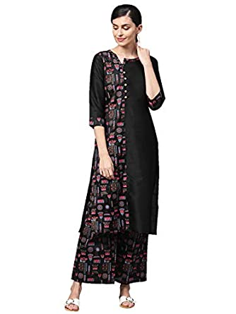 Ziyaa Women's Black Khadi Print Straight Polysilk Kurta With Palazzo Set