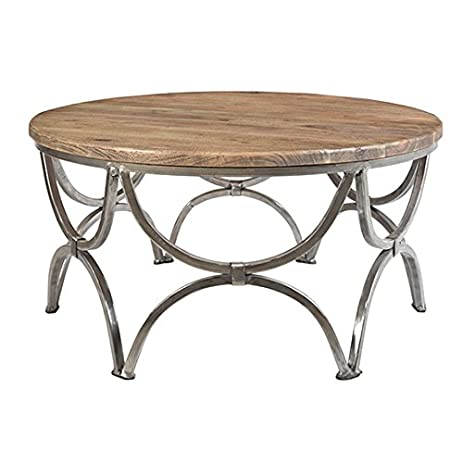 Crestview Wood Coffee Tables Bengal Manor Mango Wood And Steel Round  Cocktail Table 36 X 19