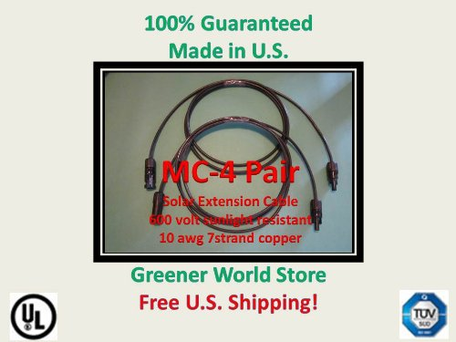 12 Foot Mc4 Solar Cables for Photovoltaic Solar Panels with Mc4 Solar Connector Cables 12 Feet Long and Mc4 Connectors At Each End. Review