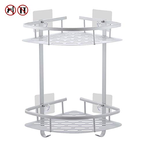 Yeegout No Drill Bathroom Corner Shelves, Aluminum Rustproof Adhesive Shower Shelf Kitchen Storage Basket with Hanging Hooks(2 ()