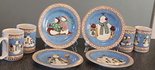 - SAKURA Jolly Snowmen ~ 4- DESSERT PLATES (8