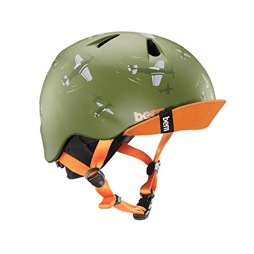 BERN - Kid's Nino Helmet, Matte Green Dogfight w/Flip Visor, ()