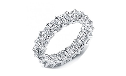 NYC Sterling 4MM Asscher Cut Cubic Zirconia Eternity Wedding Band (8)
