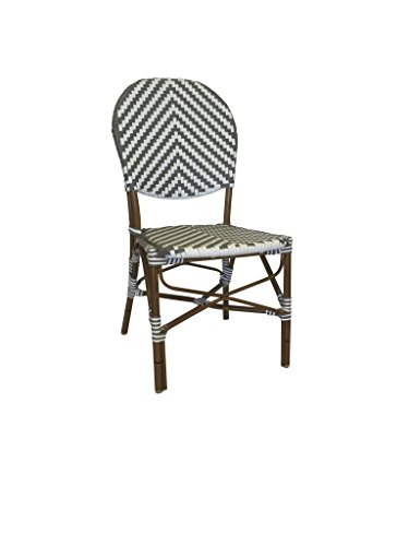 Mission Stack Chair (Table in a Bag CBCGW All-Weather Wicker French Café Bistro Chair with Aluminum Frame, White/Grey)