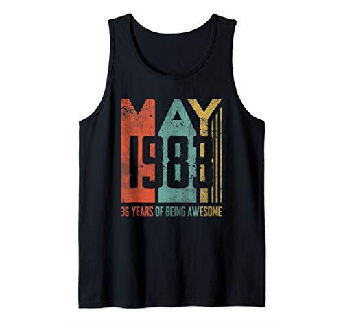 - May 1983 T-Shirt 36 Years Old 36th Birthday Gift Men Women Tank Top