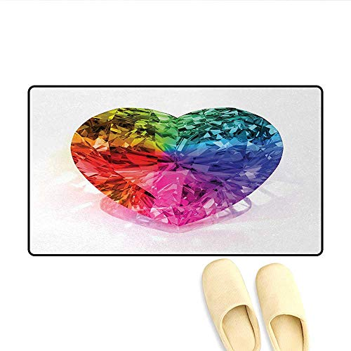 Door Mats,Heart Shape Colorful Diamond Valentines Love is Precious Romance Marriage Couples Print,Bath Mat Bathroom Mat with Non ()
