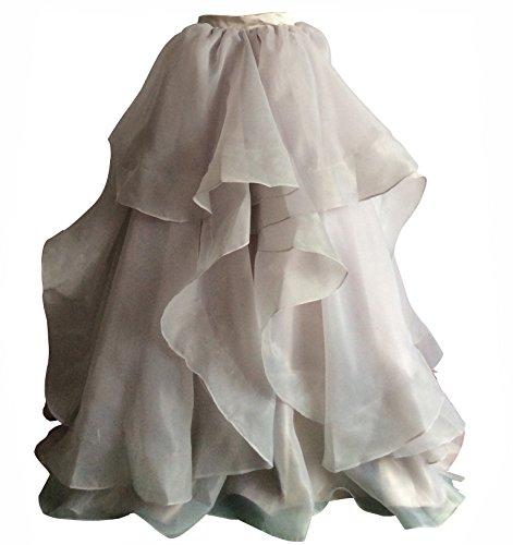 Flowerry Women Organza Skirt Bridesmaid Formal Skirt Prom Wedding Party Bridal Skirt L ()