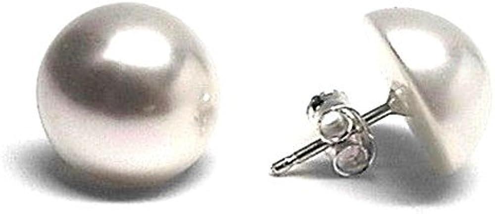 Pendientes Plata Ley 925M Mujer 12mm. Media Perla Sintética Cierre Presión