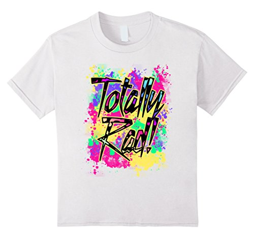 [Kids Totally Rad 80s Paint Splash Color Run 1980s Party T-Shirt 8 White] (80s Costume For Kids)