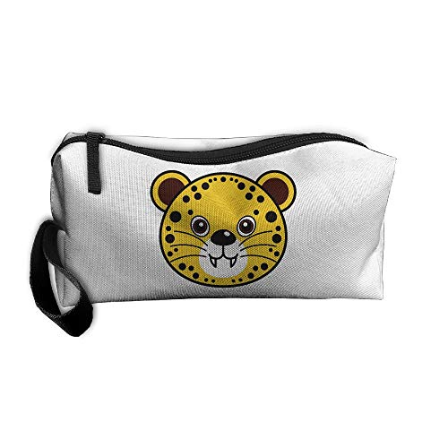 Cosmetic Bags With Zipper Makeup Bag Leopard Face Middle Wallet Hangbag Wristlet -