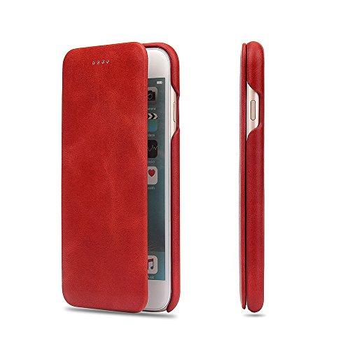 Apple iPhone 6/6s Flip Case Handy Klapp Hülle Echt Leder Handytasche Schutzhülle,Rot