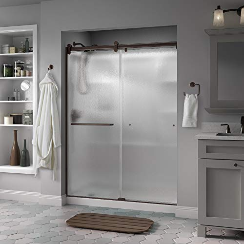 Tub Door Obscure Glass - Delta Shower Doors SD3957028 Classic Semi-Frameless Contemporary Sliding Shower, 60