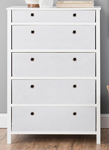 EZ Home Solutions FFR105WH01 Foldable Furniture 5 Drawer Tall Dresser, 45