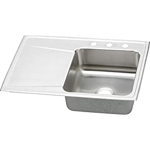 Elkay ILR3322R1 1-Hole Gourmet Lustertone Stainless Steel 33-Inch x 22-Inch Single Right Basin Top-Mount Kitchen Sink