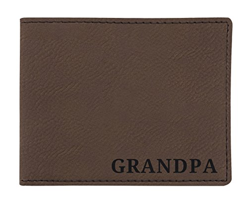 Birthday Gifts for Grandpa Engraved Wallet Retirement Gifts for Grandpa Birthday Gifts Laser Engraved Leatherette Bifold Wallet Brown