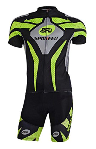Lycra Spandex Cycling Suits (Sponeed Men's Bicycle Jersey Polyester and Lycra Bike wear Explore Size Asia XXL/ US XL Green)