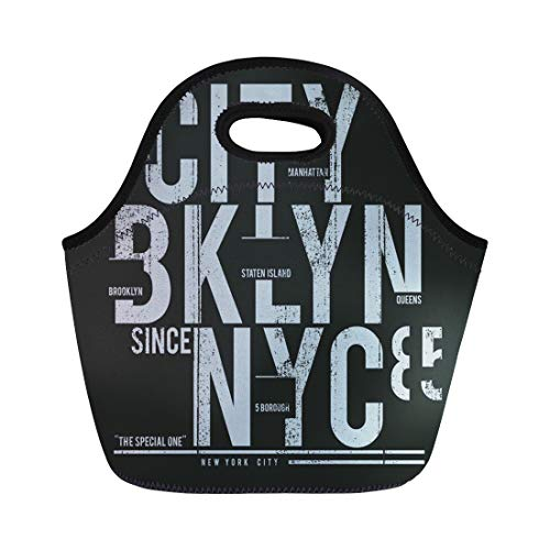 (Semtomn Neoprene Lunch Tote Bag Blue Nyc New York Brooklyn Tee Graphics Sport Street Reusable Cooler Bags Insulated Thermal Picnic Handbag for Travel,School,Outdoors,Work )