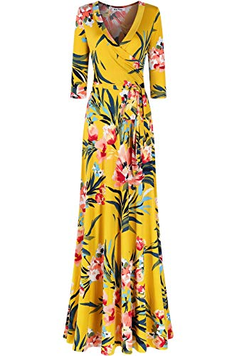 Bon Rosy Women's MadeInUSA 3/4 Sleeve V-Neck Printed Maxi Faux Wrap Floral Dress Summer Wedding Guest Party Bridal Baby Shower Maternity Nursing Yellow S