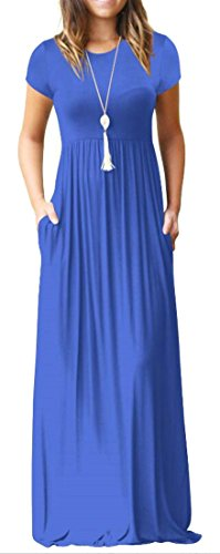 Sleeve Round Maxi Fit Short Blue Pocket Pleated Dress Womens Neck Cromoncent C1qXS5Zwq
