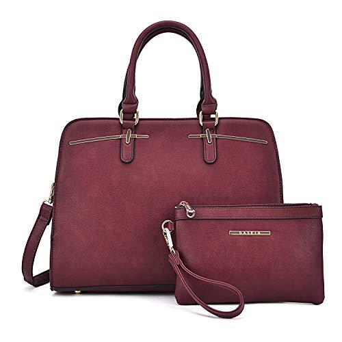 (Fashion Women's Satchel Handbag Multi Pockets Briefcase Bag 2 Pcs Set Purse Wristlet(XL-18-8043-BD))