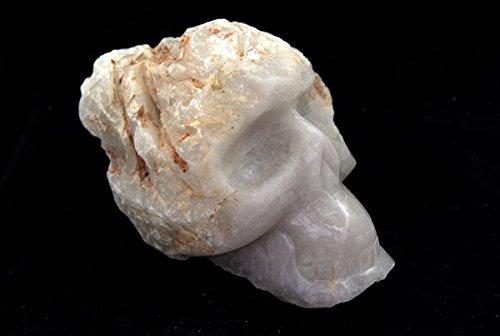 Pale Smokey White Quartz Skull Very Large Rough Polished Carving 3.4 Kilo