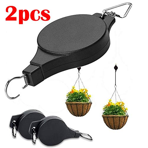 Tpingfe Retractable Pulley Hanger, Hanging Basket Pull Down Hanger Garden Plant Pots Hook (Red Texas Toothbrush)