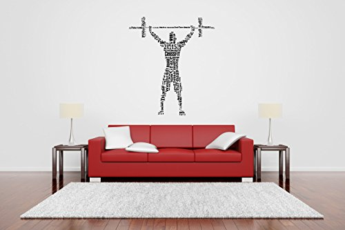 Wall Vinyl Sticker Decal Decor Collage Quote Word Crossfit Bodybuilding Fitness Center Sport Gym Fit Powerlifting Barbell Dumbbell Gymnastics Poster Art ()