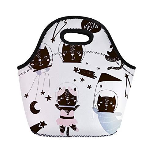 Circus Clipart - Tinmun Lunch Tote Bag Animal Circus Cats Astronauts Clipart Cute Cartoon Characters Giraffe Reusable Neoprene Bags Insulated Thermal Picnic Handbag for Women Men