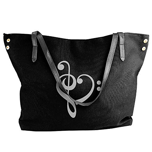 Heart Handbag Canvas Hand Large Shoulder Music Tote Bag Black Women's 6B1Yfqxwq