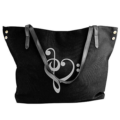 Heart Handbag Canvas Hand Large Shoulder Music Tote Bag Black Women's 6B1Yfqxwq