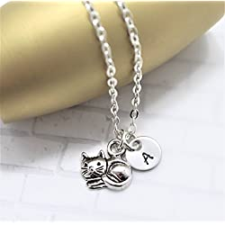 Cat Necklace for Women, Kids & Girls - Cat Jewelry - Cat Lover Gifts - Personalized Initial - Fast Shipping