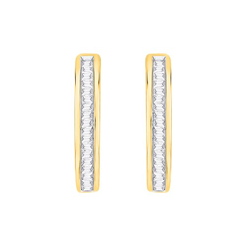 KATARINA Baguette Cut Diamond Hoop Earrings in 14K Yellow Gold (1/4 cttw, G-H, I2-I3) - Hoop 14k Gold Diamond Baguette