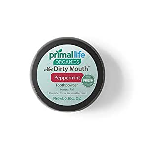 Dirty Mouth Organic Toothpowder MINI BEST All Natural Dental Cleanser - Gently Polishes, Detoxifies, Re-Mineralizes and Strengthens Teeth - Better Than Toothpaste (Peppermint, 0.25 Ounces)
