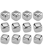 Southern Homewares Stainless Steel Chilling Ice Cubes Reusable For Whiskey Wine Beverage (Set of 12), Silver