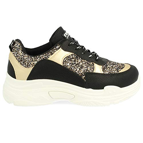 y Piso Purpurina con el Redondas Metalizados en Texturizado Negro y de Blanco Detalles cordoneras y Sneaker Svfqx