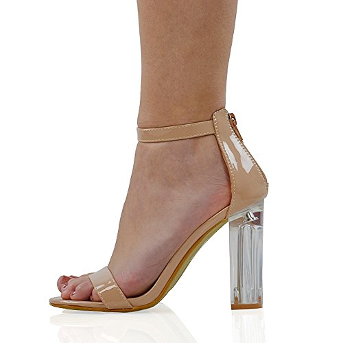 ESSEX GLAM Womens Barely There Block Perspex Heels Strappy Ladies Party Prom Clubbing Evening Sandals Shoes Nude Patent Cqq12aPD