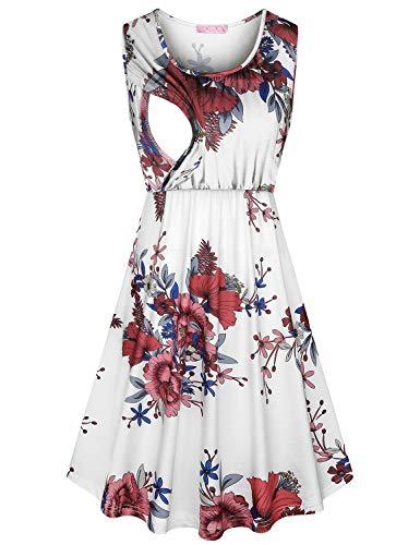 JOYMOM Maternity Dresses for Photography,Womens U Neck Sleeveless High Waist Breastfeeding Dress Gravida Elastic Waist Pleated Draped Nursing Clothes Loose Fit White Flower L