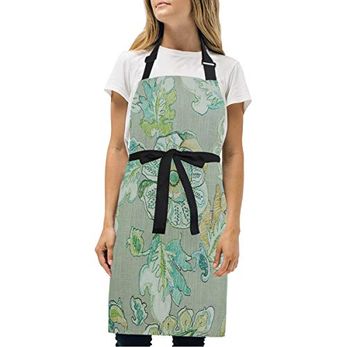 HJudge Womens Aprons Almada Peacock Kitchen Bib Aprons with Pockets Adjustable Buckle on Neck