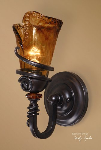 Tuscan 1 Light Wall Sconce Oil Rubbed Bronze Iron & Toffee Glass Chandelier ()